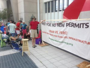 Activists setting up outside FERC