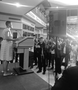 Rep. Donna Edwards gives her concession speech. Photo courtesy of the Edwards campaign.