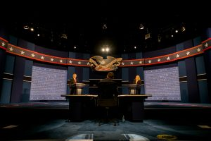 Tonight's debate stage, with candidate stand-ins. Photo: NY Times