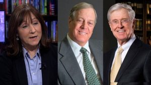 Jane Mayer; David and Charles Koch. Photo: democracy now.org