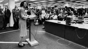 Katharine Graham addresses the Post newsroom at start of pressmen strike. Photo: Washington Post